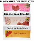 Tearable Blank Gift Certificate Book for Spa Hair Nail Beauty Salon 50ct/Booklet