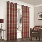 Julian Charles Inverness Rust Luxury Lined Woven Eyelet Curtains (Pair)