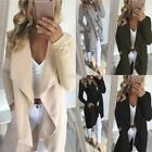 Women Casual Open Front Long Sleeve Patchwork Woolen Coat Cardigan S0BZ