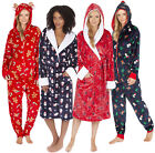 Womens Novelty Christmas Dressing Gown Onezie Range Xmas Snowman Reindeer Size