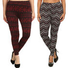 Womens Plus Size Fleece Print Graphic Leggings Stretch Pants Warm Soft Winter