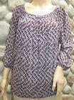 NWOT Women's Micheal Kors Purple/Brown Elastic Waist/Sleeve Pleated Collar SZ MM