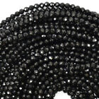 "Faceted Black Spinel Round Beads Gemstone 15.5"" Strand 2mm 3mm 4mm 6mm"