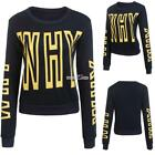 Women Casual Round Neck Long Sleeve Letter Print Cropped Pullover S0BZ