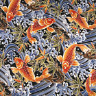 Hawaiian Asian Print Cotton Fabric, Bright Koi on Blue, Aloha Shirts & More
