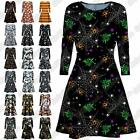 New Womens Witch Skull Bat Pumpkin Halloween Print Flare Mini Skater Swing Dress