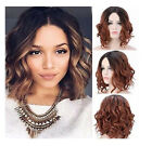 Women Synthetic Heat Resistant Black Ombre Blonde Short Curly Wave BOB Full Wig