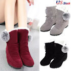 Newest Women's Boots Winter Warm Snow Boots Thicken Fur Scrub Suede Flats Shoes