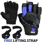 MRX Weight Lifting Gloves Genuine Leather Gym Workout Training FREE BAR STRAP