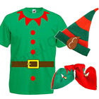 MENS ADULTS ELF SANTAS HELPER PIXIE T SHIRT SHOES HAT CHRISTMAS XMAS FANCY DRESS