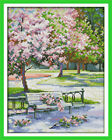 """Joy Sunday Spring in The Park Counted Cross Stitch Kit 10"""" X 14"""" 14 Count Fabric"""