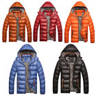 Men Casual Fashion Warm Hooded Padded Quilted Coat Zipper Parka Jacket Down New