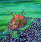NEW Sea Turtle Green Ocean Purple Reef Batiks Beach~ Fabric Quilt Square Panel