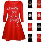 Ladies Long Sleeve Xmas Christmas Novelty Print Skater Swing Dress Flared Party