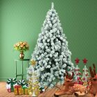 5 6FT Christmas Tree w Steel Base Decorate Ornament Xmas 450Tips Snow Flicked SK