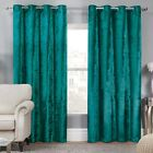 Julian Charles Elegance Allure Teal Crushed Velvet Luxury Eyelet Curtains (Pair)