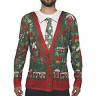 Faux Real Ugly Christmas Sweater Cardigan Long-Sleeve Tee