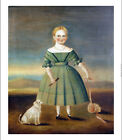 "AMERICAN SCHOOL ""Girl In Green Dress"" bonnet dog CANVAS OR PAPER various SIZES"