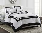 7-Piece Caprice Square Pattern Hotel Comforter Set White/Black (4 Sizes) image