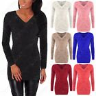 NEW LADIES FLUFFY KNIT V-NECK JUMPER WOMENS FUR LOOK MOHAIR LONG STYLE WARM TOP