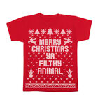 Merry Christmas Ya Filthy Animal Ugly  Sweater Contest Red Youth T-Shirt