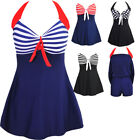 Halter One Piece Swimsuit 10 Women  Boy Shorts Tankini Bathing Suit Plus Size