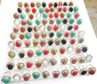 MOST POPULAR EWELRY! MIX GEMSTONE WHOLESALE LOT 100PCS 925 SILVER OVERLAY RING