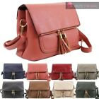 TASSEL DETAIL FAUX LEATHER FLAP POCKET NEW LADIES SHOULDER CROSSBODY BAG