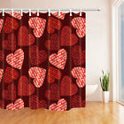 Hand Draw Heart Pattern Bathroom Fabric Shower Curtain Set With 12 Hooks 71Inch
