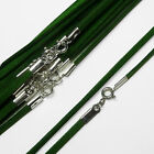 "18"" (46cm) Green Soft Suede Cord Necklace with 925 Sterling Silver Clasp"