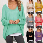 Ladies Women Plain Batwing Oversized Long Sleeve Baggy Sweater Jumper Top S-2XL