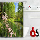 Bath Mat Shower Curtain Polyester Flowers in forest Waterproof Fabric YL5791
