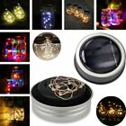 3 Pack LED Fairy Light Solar Mason Jar Lid Lights Color Changing Garden Decor