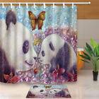 Panda Mom And Son With Butterfly Bathroom Fabric Shower Curtain Set 71 Inch