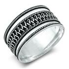 Bali Polished Rope Wide Thumb Ring New .925 Sterling Silver Band Sizes 5-13