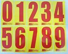 4 x Red numbers on Yellow background -Iame-X30 Rotax Cadet Karting Race Numbers