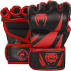 Venum Challenger Semi-Leather Hook and Loop MMA Gloves - Black/Red