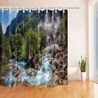 Little Waterfalls Flow on Rock Stairs Bathroom Fabric Shower Curtain Set 71 Inch