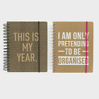 'Kraft Typo' Full Year Week to View Hardback Wiro Organiser Planner Diary 2018