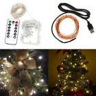 100LED Starry Wire Fairy Light Xmas Party Battery USB White Remote Control
