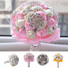 Handmade Rose Flower Bridal Wedding Bouquet Wtih Crystal Pearl Silk Satin Brooch