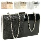 Women's New Glitter Patent Leather Hardcase Box Prom Party Clutch Bag