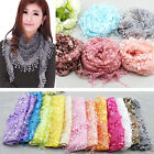 US SHIP Women Tassel Lace Floral Knit Triangle Mantilla Scarf Shawl Wrap Scarves