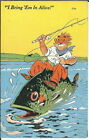BB-246 I Bring Em In Alive, Man Riding Huge Fish, Comic Linen Postcard
