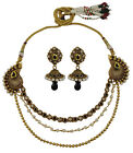 Goldtone Indian Women Designer CZ Stone 2PC Necklace Earring Set Party Jewelry