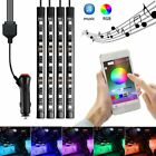 4 in1 9 LED Strip Car Interior RGB Atmosphere Light Floor Decor APP Voice Remote