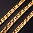 "7mm -13.5mm Miami Cuban Link Chain 14k Gold Plated Stainless Steel  24"" 30"" 36"""