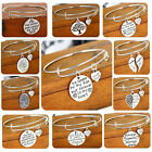 Women Men Bangle Jewelry Family Love Silver Plated Pendant Heart Charm Bracelet