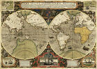 1595 Old World Map Sir Francis Drake Thomas Cavendish Exploration Routes Print