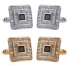 Luxury Gold Silver Square Cufflinks Men's Wedding Party Shirt Suit Cuff Links